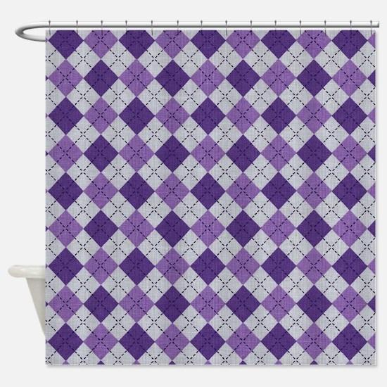 Purple Argyle Shower Curtain