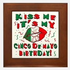 KISS ME Cinco de Mayo Birthday Framed Tile