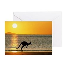 Australian Kangaroo on Beach Greeting Card