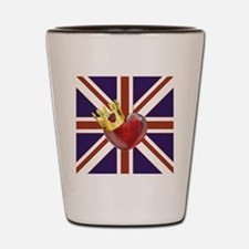 UNION JACK WITH HEART AND CROWN Shot Glass