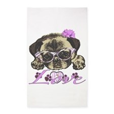 Pug in Pink. For any one that loves 3'x5' Area Rug