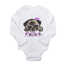Pug in Pink. For any o Long Sleeve Infant Bodysuit