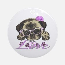 Pug in Pink. For any one that lov Ornament (Round)
