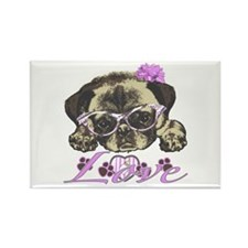 Pug in Pink. For any one that lov Rectangle Magnet