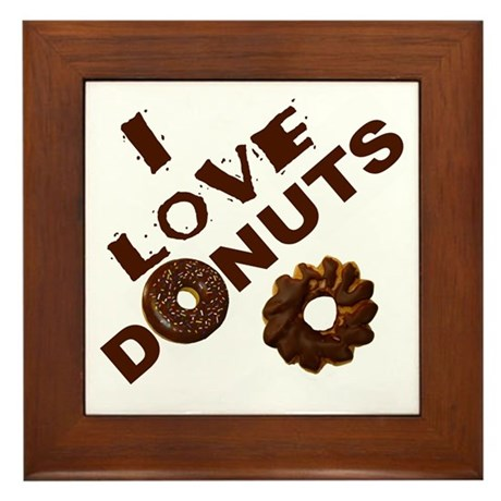 I Love Donuts! Framed Tile