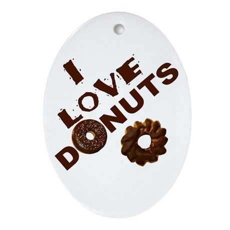 I Love Donuts! Oval Ornament
