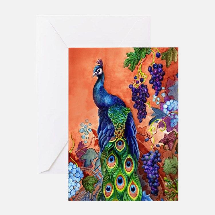 Peacock Bird Grape Artwork Greeting Card