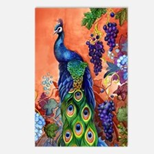 Peacock Bird Grape Artwor Postcards (Package of 8)