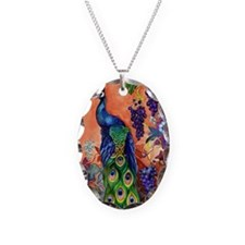 Peacock Bird Grape Artwork Necklace