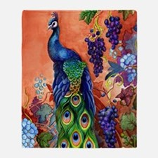 Peacock Bird Grape Artwork Throw Blanket