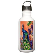 Peacock Bird Grape Art Water Bottle