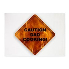 CAUTION! Dad Cooking 5'x7'Area Rug