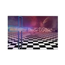 cross n checkers Rectangle Magnet