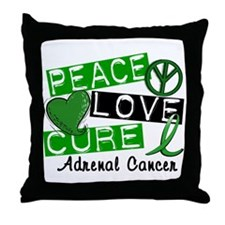 Peace Love Cure 1 Adrenal Cancer Throw Pillow