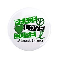 """Peace Love Cure 1 Adrenal Cancer 3.5"""" Button"""