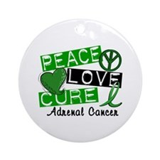 Peace Love Cure 1 Adrenal Cancer Ornament (Round)