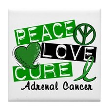 Peace Love Cure 1 Adrenal Cancer Tile Coaster