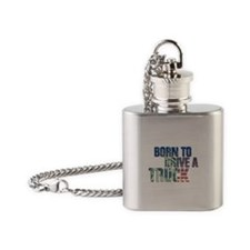 trucker - usa flag statue of liberty Flask Necklac