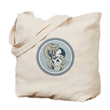 Rattle Snake Curling Around Skull Cartoon Tote Bag