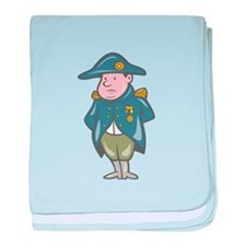 French Military General Cartoon baby blanket