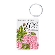 100th Birthday Pink Rose Aluminum Photo Keychains