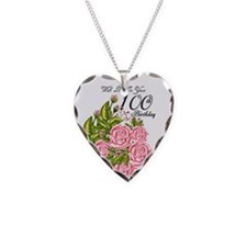 100th Birthday Pink Rose Necklace
