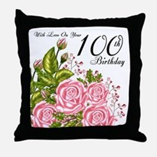 100th Birthday Pink Rose Throw Pillow