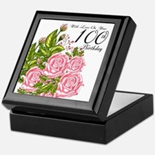 100th Birthday Pink Rose Keepsake Box