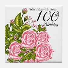 100th Birthday Pink Rose Tile Coaster