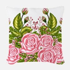 100th Birthday Pink Rose Woven Throw Pillow