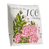 100th birthday Burlap Pillows