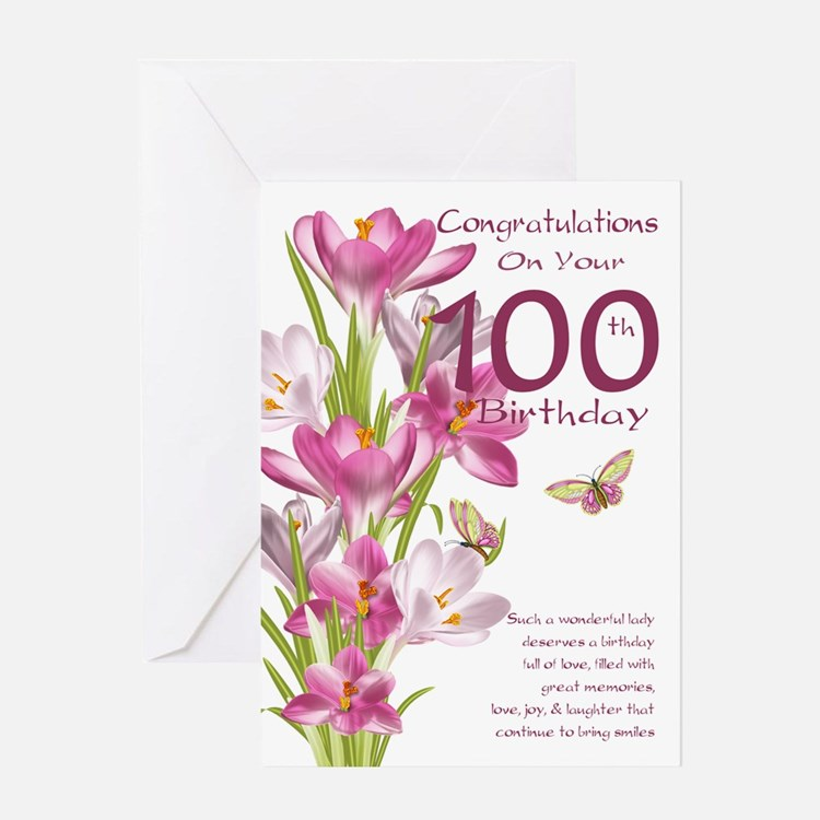 100th Birthday Pink Crocus Card Greeting Cards