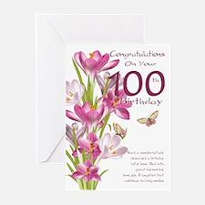 100th Pink Crocus Greeting Cards (pk Of 10)