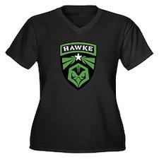 HAWKE Brand Women's Plus Size V-Neck Dark T-Shirt