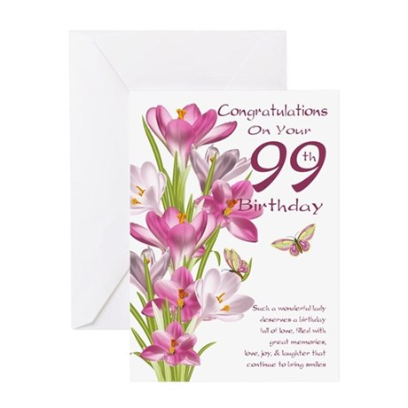99th Floral Birthday Pink Crocus Greeting Cards