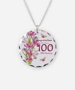 100th Birthday Pink Crocus Necklace Circle Charm