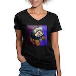 Yorkie! Women's V-Neck Dark T-Shirt