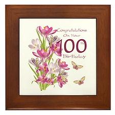 100th Birthday Pink Crocus Framed Tile