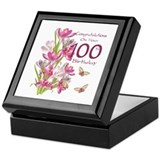 100th birthday celebration pink crocus Square Keepsake Boxes