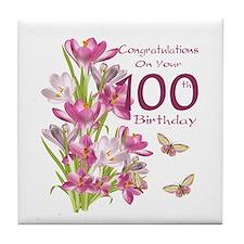 100th Birthday Pink Crocus Tile Coaster