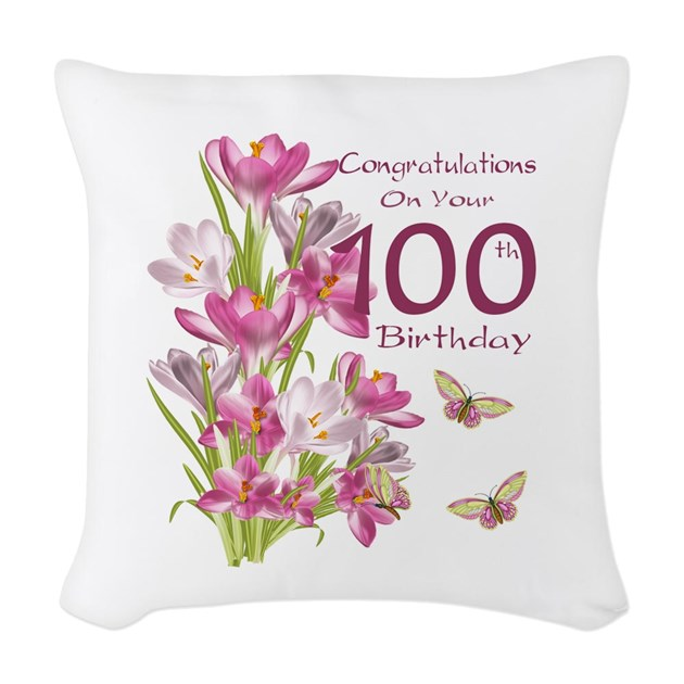 100th Birthday Pink Crocus Woven Throw Pillow By