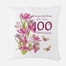 100th Birthday Pink Crocus Woven Throw Pillow
