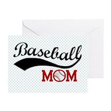 Baseball Mom Red/Blue Polka Dot Greeting Card