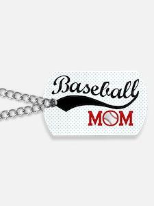 Baseball Mom Red/Blue Polka Dot Dog Tags