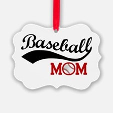 Baseball Mom Red/black Wave Ornament