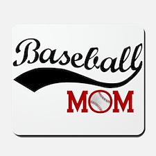 Baseball Mom Red/Black Wave Mousepad