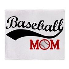 Baseball Mom Red/black Wave Throw Blanket