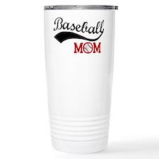 Baseball Mom Red/Black Wave Travel Mug