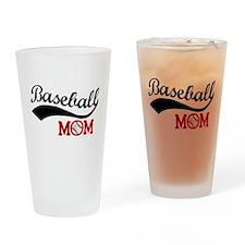 Baseball Mom Red/Black Wave Drinking Glass