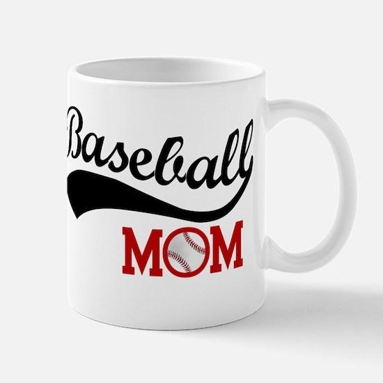 Baseball Mom Red/Black Wave Mugs